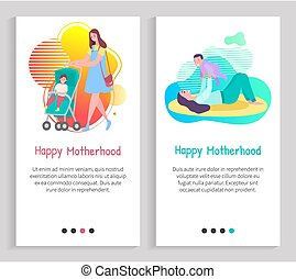 Happy Motherhood, Mother with Child, Family Vector