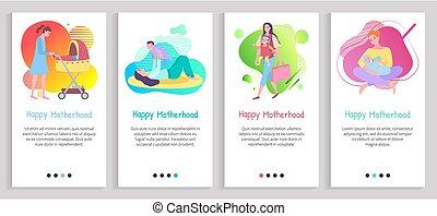 Happy motherhood vector, mommy feeding kiddo with organic food, mom playing with child holding on hands and raising, toddler in perambulator. Website or slider app, landing page flat style