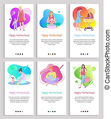 Happy motherhood mom with kiddo vector, child and mother pushing perambulator, small baby playing with mommy, lady wearing dress walking family. Website or slider app, landing page flat style