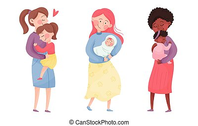 Happy Mothers Cuddling Their Kids Holding with Arms Vector Set