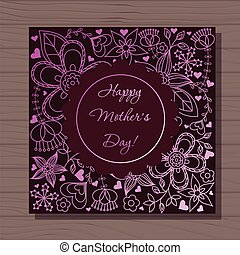 Happy mothers dat card on wooden background