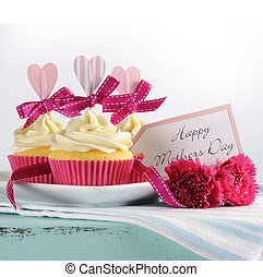Happy Mothers Day aqua blue vintage retro shabby chic tray with pink cupcakes with pink hearts and ribbon decoration and gift tag