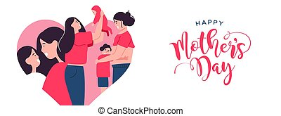 Happy Mothers Day banner of mom with children