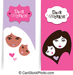 Happy Mother's Day. Banners of beautiful silhouette of mother and baby