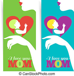 Happy Mother's Day. Banners of beautiful silhouette of mother and baby in heart