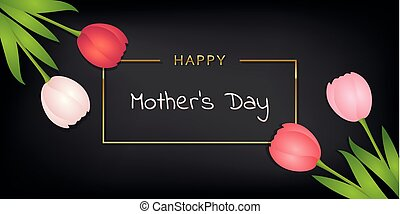 happy mothers day black greeting card with colorful tulips
