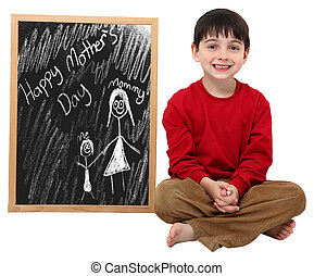 Happy Mother\'s Day Boy with Clipping Path