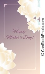 Happy Mothers Day Card design with lotus flowers