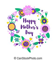 Happy mothers day card made of a floral wreath with cute colorful flowers in folk style. Vector