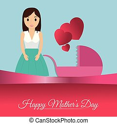 happy mothers day card mom with baby carriage heart