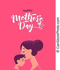 Happy Mothers Day card of mother kissing son