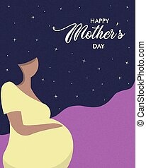 Happy Mothers Day card of pregnant woman