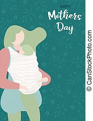 Happy Mothers Day card of woman with baby