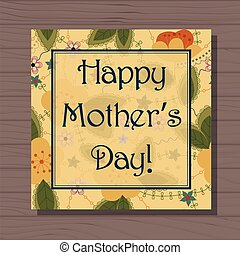 Happy mothers day card on wooden background