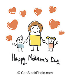 happy mothers day card with cartoon
