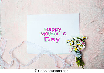 Happy Mothers day card with chamomile flowers