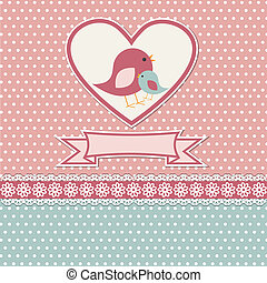 Happy mothers day card with cute birds
