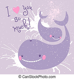 Happy Mother's Day. Card with cute whales.