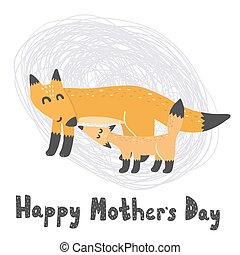 Happy Mother?s Day card with cute foxes - mommy and baby