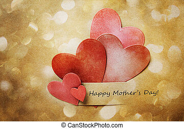 Happy Mothers Day Card with hand-crafted hearts and abstract circle lights