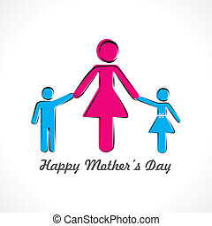 happy mothers day card with kids