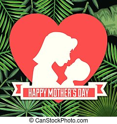 happy mothers day card with mom and baby silhouette