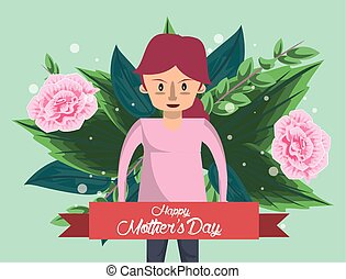 happy mothers day card with mother character
