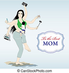 Happy mothers day card with Multitasking super mother