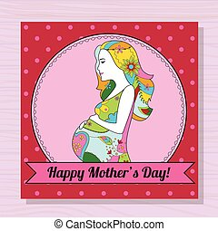 Happy mothers day card with pregnant woman on wooden background