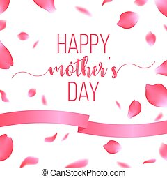Happy Mothers Day card with rose petals