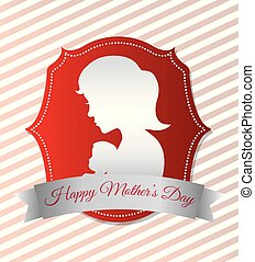 happy mothers day card with silhouette mom and baby