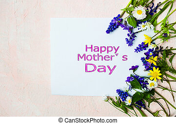 Happy Mothers day card with spring flowers