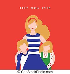 Happy mothers day children love card illustration