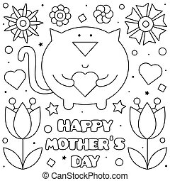 Happy Mothers Day. Coloring page. Vector illustration of cat...