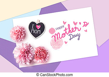 Happy mothers day concept of color paper and pink carnation flowers