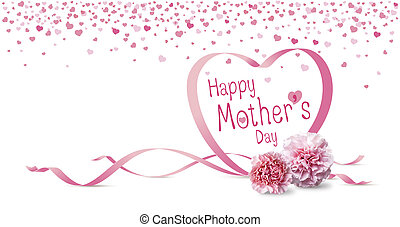 Happy mothers day concept of pink carnation flowers and heart ribbon on white background
