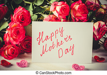 Happy Mother's Day Concept-- Post card with roses.