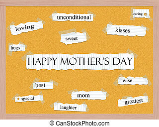 Happy Mother's Day Corkboard Word Concept with great terms...