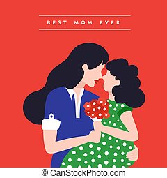 Happy mothers day daughter family illustration