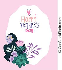 happy mothers day, decorative ornament flowers leaves badge