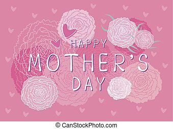 Happy Mothers day design of pink carnation flowers background vector illustration