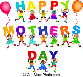 Happy Mothers Day Diverse Kids Text