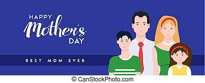 Happy Mothers day family banner illustration