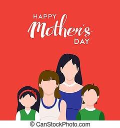 Happy mothers day family celebration illustration