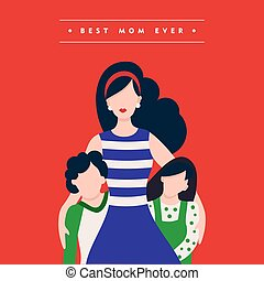 Happy mothers day family holiday illustration