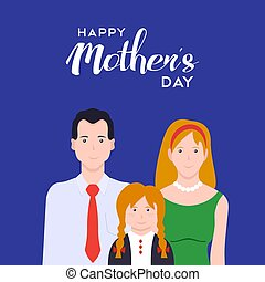 Happy mothers day family love card illustration