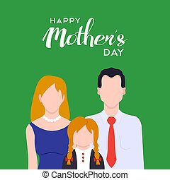 Happy mothers day family love illustration