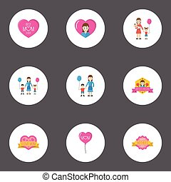 Happy Mother's Day Flat Icon Layout Design With Heart, Emotion And Best Mother Ever Symbols. Lovely Mom Beautiful Feminine Design For Social, Web And Print.