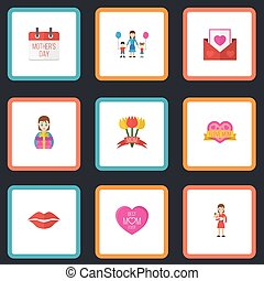 Happy Mother's Day Flat Icon Layout Design With Mam, Envelope And Special Day Symbols. Lovely Mom Beautiful Feminine Design For Social, Web And Print.