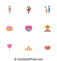 Happy Mother's Day Flat Icon Layout Design With Tulips, Heart And Kiss Symbols. Lovely Mom Beautiful Feminine Design For Social, Web And Print.